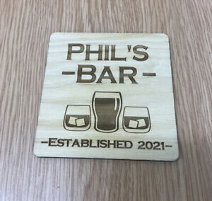 Personalised Home Bar Wooden Coaster, Cards Business , Pub, Man Cave, Shop