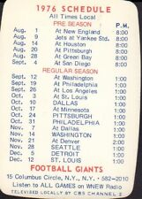 1976 New York Giants Manufacturers Hanover Trust Schedule 101917jh