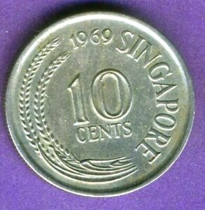 Singapore 10 Cents 1969 KM 3 Crowned Seahorse Combined Shipping