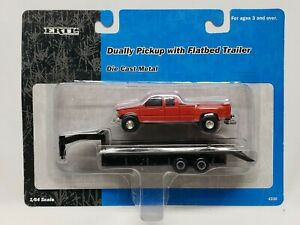 Red OBS Chevy / GMC Dually Pickup Truck With Flatbed Trailer 1/64 Scale By Ertl