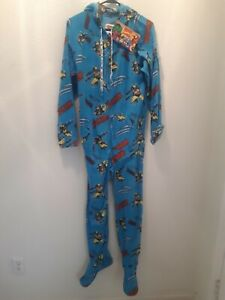 NEW ADULT SIZE XS ONE PIECE FLEECE PAJAMAS WOLVERINE MARVEL COMICS HOODIE FOOTED