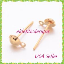 20pcs 4mm Gold Plated BRASS Half Ball Stud Posts Earrings Jewelry Findings 10pr