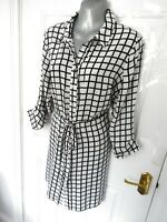 Size 10 White Black Check Collared Shirt Dress Button Up Drawstring Waist Blog