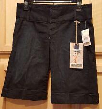 Fade to Blue Preppy Chic IVU Navy Stretch Denim Wide Leg Cuffed Long Shorts, 2R