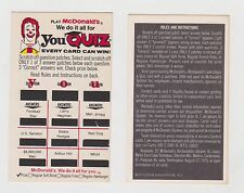 1975 McDonald's Scratch Off Quiz Game Card Lot of FIVE)l FREE S&H