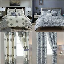 7 Pieces Soft Comforter Set and Curtain Panels Bed in a Bag Queen,King/Cal King