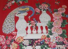 Best Vintage Italian Lorenzo Rubelli Peacock Urn Cotton Fabric ~Red Blue Pink