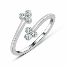 Three-Stone Micky Mouse Adjustable toe Ring 14k White Gold Fn Round Diamond
