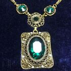 Carved Vintage 12.95 Ct Deep Green Oval Emerald Pendant Necklace 14K Gold Filled