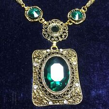12.95 Ct Carved Vintage Green Oval Cut Emerald Pendant Necklace 14K Gold Filled