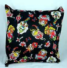 "Tattoo Skulls Roses Swords Cross Cushion Cover Decorative Case fits 18"" x 18"""