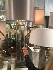 """NEW LARGE 44"""" THICK CLEAR GLASS TABLE LAMP BRUSHED NICKEL ACCENTS MODERN LIGHT"""