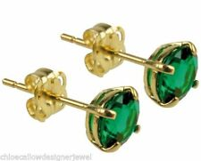 Butterfly Fastening Emerald Yellow Gold Fine Earrings