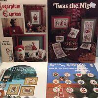 Lot Of 4 Cross Stitch Pattern Chart Christmas Ornaments Pegi White Susan Winget
