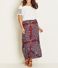 Crossroads Blue / Red Tassel Tie Paisley Elastic Waist Maxi Skirt Size 18
