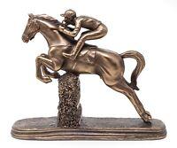 Jumping Horse Racing Statue Bronze Steeplechase Sculpture & Jockey LP29245 NEW