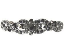 Anthony David Small Barrette Hair Accessory Clip with Black Swarovski Crystals