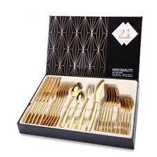 24PCS Gold Cutlery Dinner Set Tableware Silver Dishes Flatware Knife Spoon Forks