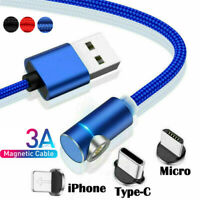 QC3.0 Charger 3A Magnetic Cable Micro USB IOS USB-C For Iphone Samsung Android