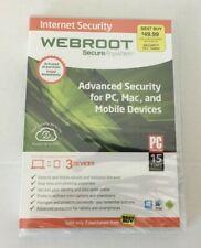 New Webroot SecureAnywhere Internet Security & Antivirus Windows & Mac 3 Devices