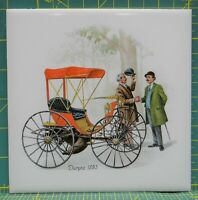 "H&R Johnson Ltd Duryea 1893 Antique Car Carriage 6"" Cushion Wall Tile Trivet"