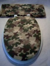 CAMO Camouflage fleece  Elongated Toilet Seat Lid and Tank Lid Cover Set