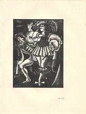 GRAVURE SUR BOIS XXème Louis XIV & MOLIERE par Louis CAILLAUD vélin du marais