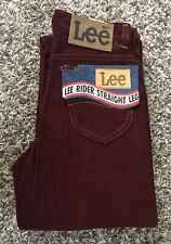 Vintage DeadStock Lee Rider Corduroy Red Zipper Talon 42 Size 26x34 Made in USA