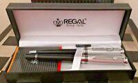 BN! Vintage Regal Germany Pen Set Black Laquer w/Satin Chrome Ballpoint Pens