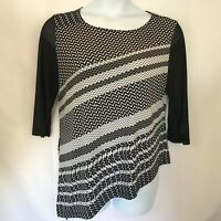 Chico's Travelers  Knit Size 2 Semi Sheer Sleeve Tunic Stretch Top Black/White