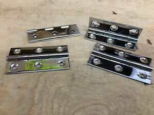 """2 PAIRS 2"""" 50mm POLISHED CHROME ON BRASS BUTT HINGES SMALL BOX DOOR"""