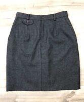 Ralph Lauren Blue Label Pencil Skirt 100% Wool Button Gray Made in USA Size10(8)