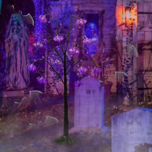 4FT Halloween Decorations Black Spooky Tree with LED Purple Lights and Bats