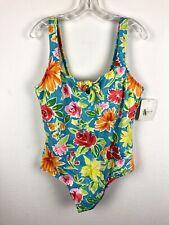 New Liz Claiborne One Piece Swimsuit Size 22W Floral Print Tropical Beach $90