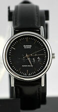 Casio MTP1095E-1A Men's Black Analog Watch Leather Band Silver Rim Quartz