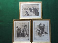 Honore Daumier Caricatures Three Prints Signed and Numbered, Framed & Matted