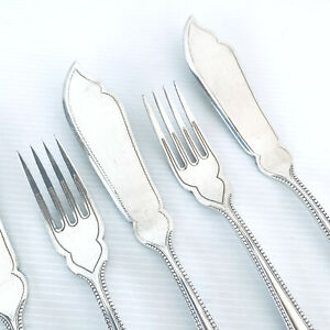 Vintage Silver Plated Bead Pattern Fish Knives & Forks X 6 Holland Dutch Gero 90
