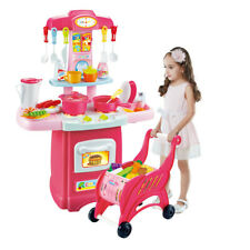 Pink Kids Kitchen Playset Pretend Play Toy Gift Cooking Set Light and Sound