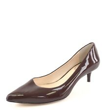b5476d955e8 New Vince Camuto Tacc Brown Patent Leather Kitten Pumps Women s Size 6.5 ...