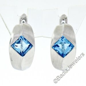 New Petite 14K White Gold .40ctw Square Blue Topaz Dual Finished Huggie Earrings