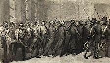 Révolution Française 1789 gravure sur acier Les Girondins sortent du tribunal