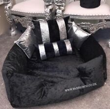 Large Crushed Velvet Dog Pet Bed - Black