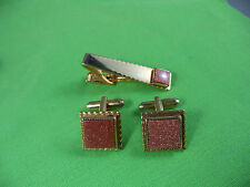 Handsome Vintage Goldstone Cufflinks & Tie Bar Set Made By Tux