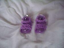 Baby sandalscrochet, 0-3 months sparkley purple