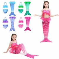 Kids Girls 3pcs Bikini Sets Mermaid Tail Swim Swimwear Tankini Outfits Costumes