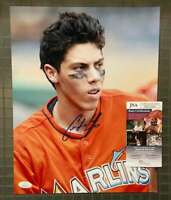 Christian Yelich JSA Coa Autograph Hand Signed 11x14 Photo Marlins
