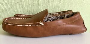 Mens NEXT Faux Leather &  Fur Lined Brown Slippers. Size 12.  New.
