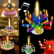 Magical Romantic Happy Birthday Blossom Lotus Musical Candle Flower Party Gift