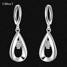 Women Fashion Silver 925 Crystal Wedding Party Hoop Dangle Earring Jewelry Gift