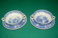 2 Suppentassen mit Unterteller VILLEROY & BOCH Burgenland Blau Marke mit Schloss